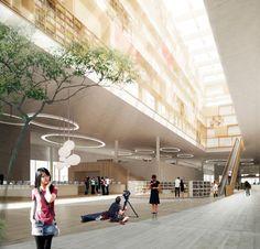 Bustler: schmidt hammer lassen to design new Ningbo Central Library in Ningbo, China
