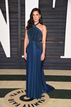 Wearing Zac Posen at the Vanity Fair Oscar Party.