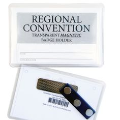 Insert your own convention lapel card into this Transparent Magnetic Badge Holder and tightly secure it in place within seconds. It leaves no holes on clothing, no more accidental poking, and fast easy removal  adjustment. Made with thick clear heavyweight vinyl. Perfect for reuse convention after convention.