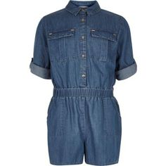 I'm shopping Girls blue denim playsuit in the River Island iPhone app.