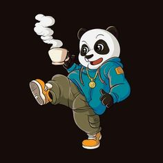Streetwear - Coffee Panda Our streetwear wearing, coffee drinking panda is the perfect choice for you to stand out from the crowd! Book Of Mormon Musical, Funny Hamsters, Panda Shirt, Wall Art Crafts, Sticker Designs, Chibi Characters, Cute Panda, Cute Bears, Rainbow Unicorn