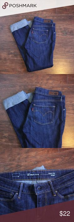 Levi's Denim Jeans Size 27, Slight Curve. Comfortable material, I've got the cuffs rolled up but they can be worn down, too. Flattering, classic. Levi's Jeans Straight Leg