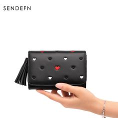 2e1483b9b6 Short Women Wallets Young Lady Leather Purse 2018 New SENDEFN Gril Small  Wallet Female Coin Purses For Card Holder Black