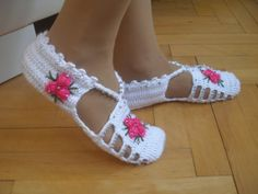 Crochet Slippers... White Dark Pink and  White by Vestberet, $20.00