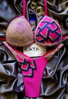 Kata Apparel hot pink figure/fitness/physique suit NPC IFBB WBFF UKBFF NABBA