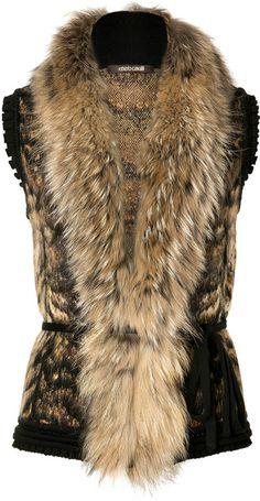 ROBERTO CAVALLI   Bronzewhite Fur and Knit Combo Vest