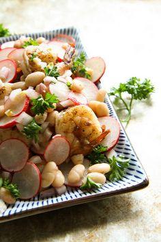 Shrimp, White Bean and Radish Salad.