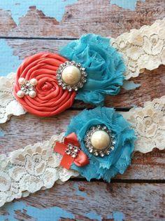 Wedding garter / coral and turquoise  wedding garters/ bridal  garter/  lace garter / toss garter / vintage lace garter. $24.99, via Etsy.