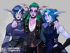 Night elf hunter Shaadren Sharpthorn (middle), Death Knight SO Sylass Winterblind (left) and trash-mouth friend Telani Mistpeak (right) in their outfits for this year's Tournament of Ages ball on Moon Guard! World Of Warcraft Game, World Of Warcraft Characters, Warcraft Art, Dnd Characters, Fantasy Characters, Female Characters, Female Character Design, Character Art, World Of Warcraft Wallpaper