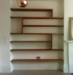 Sue, carrying the idea of visual texture again with these shelves in a darker natural wood will draw the eye to this alcove. Alcove Storage, Alcove Shelving, Built In Shelves, Wood Shelves, Display Shelves, Built Ins, Retro Living Rooms, Chimney Breast, Shelves In Bedroom