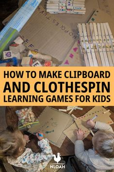 These DIY learning games are so easy and cheap to make. All you need is cardboard, markers, clothespins and some scissors. #homeschooling #learning #toys #homescool #diytoys