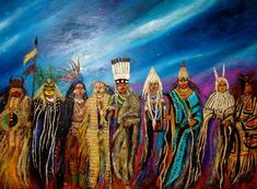 """Great Spirit of Being oil on canvas diptych (2 of 2) 48"""" x 60"""" (each panel)  This diptych was shown at the Maryhill Museum of Art as part of the 2003 REFLECTING ON LEWIS AND CLARK Contemporary American Indian Viewpoints art exhibition."""