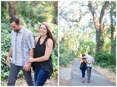 Engagement Portraits in Park | couple walking together for portraits