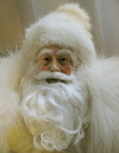 Father Christmas Santa Doll: Winter White, Rhinestones and Vintage White Fox Fur (regular price is 350 usd) Christmas Tree Scent, Father Christmas, Christmas In July, Winter Christmas, Christmas Colors, Christmas Art, Christmas Ideas, Mrs Claus, Santa Clause