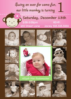 Mod Monkey Invite Mod Monkey Invitation Photos -  1st Birthday Party Girl invite - 1 year old (multiple options available). $22.99, via Etsy.