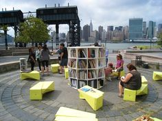 """The Uni Project, a portable reading room that moves around New York City. It consists of many cubes that can be transported easily and set up in various configurations, right on the street. It's""""dedicated to expanding a culture of learning beyond the walls of schools and libraries and into public space"""" and is referred to as a """"walk-up learning space."""" Very mobile indeed!"""