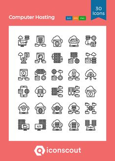 Computer Hosting Icon Pack - 30 Line Icons Png Icons, Line Icon, Icon Pack, Icon Font, Design Development, Fonts, Designer Fonts, Types Of Font Styles