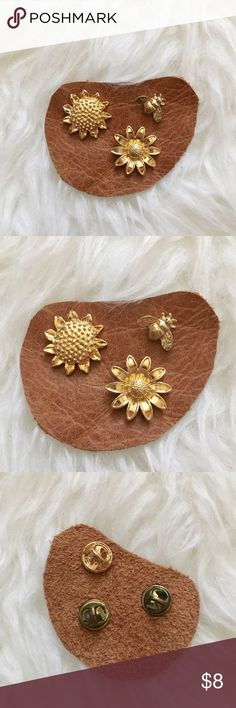 '90s / Sunflower Pins Set of three gold tone pins. Two flowers and a bee!  ⁂ Great bundle item! Two items = 20% off ☒ I do not model or trade, sorry! ❁ Check out my closet for more vintage!  {lapel, hat pin, badge, button, pinback} Vintage Jewelry Brooches