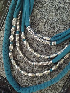 Upcycled Teal Tshirt Necklace with Silver by TheHoneyHoleShop, $30.00