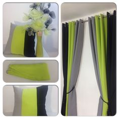 RING TOP FULLY LINED PAIR EYELET READY MADE CURTAINS BLACK LIME GREEN GREY in Home, Furniture & DIY | eBay