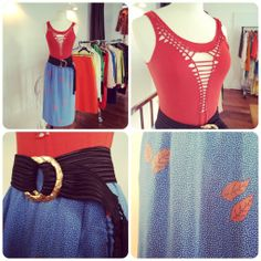 a beautiful summer set with a Jean Paul Gaultier orange top in openwork cotton / small size + a Ted Lapidus skirt in blue, white and orange silk from the 70s / french size 36 + a Yves Saint Laurent black belt / small size. Interested? --> sales@design-only.com