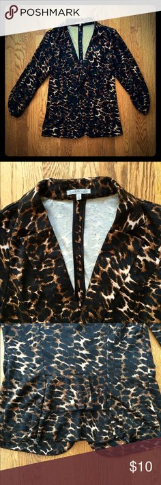 EUC Charlotte Russe leopard blazer Hardly worn, super soft leopard one button blazer. Ruched 3/4 sleeves and ruffle back. Charlotte Russe Jackets & Coats Blazers