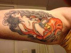 A copy of the famous print of Hokusai, The Dream of the Fisherman's Wife, inked by Stewart Robson. Ink, Tattoos, Tattoo Ideas, Japanese, Tatuajes, Japanese Language, Tattoo, India Ink, Tattos