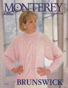 Brunswick 859 Monterey Knitting Patterns Sweaters Lace Cable Aran Cardigan 1985 #Brunswick #KnittingPatterns