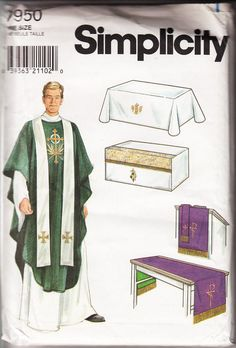 Sew your own vestments! Simplicity Pattern #7950 Altar Cloths and Vestments Chasuble Stole Reversible Antependia Fitted Altar Cloth Reversible Table Runner