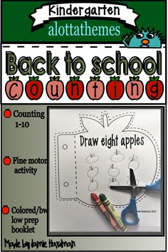 Perfect for using during your Back to school for the first week or Fall activities. Let your little apple lovers count and paste with this practice sheet for numbers 1 to Published August 12 2019 Alphabet Activities, Preschool Activities, Motor Activities, Early Childhood Activities, Kindergarten Learning, Learning Numbers, Learning Through Play, Autumn Activities, Math Skills