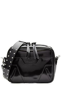 From+the+high-shine+of+the+black+patent+leather+to+the+cool+stud+embellishment+through+the+shoulder+strap,+this+'Mini+Flight'+plus-one+is+a+polished+but+edgy+accessory+from+Rag+&+Bone.+#Stylebop