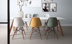 Modern Dining Room Chairs That Will Change Your Home Decor Dining Room Design, Dining Room Chairs, Coloured Dining Chairs, Desk Chairs, Eames Chairs, Office Chairs, Esstisch Design, Small Dining, Living Room Decor