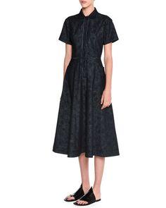 W0AA9 Tomas Maier Meadow-Print Denim Shirtdress, Dark Navy/Black