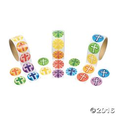 Rainbow Cross Rolls of Stickers - OrientalTrading.com