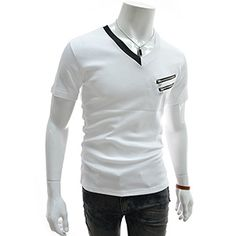 (GTS08-WHITE) Slim Fit Double Zipper Patched V-neck Short Sleeve Tshirts