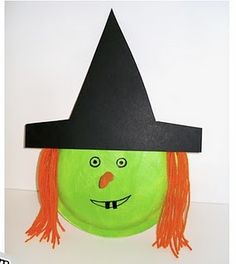 Halloween - paper plate witch or pumpkin w/ cut out face