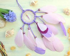 Blue Purple quartz dream catcher Purple aura quartz Small