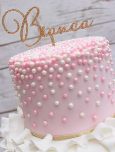 pink and white pearl rose ruffle cake