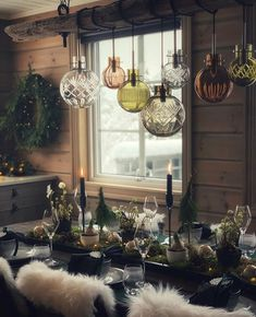 Christmas Table Settings, Christmas Decorations, Table Decorations, Barn Shop, Tis The Season, Tablescapes, Chandelier, Ceiling Lights, Interior