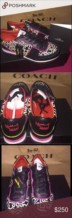 NEW COACH KEITH HARING SNEAKERS Brand New Authentic Coach Keith Haring Limited Edition Sneakers  Color: Black/Fuchsia Graffiti Design  Size: 5.5( fits size 6)  New In Box Coach Shoes Athletic Shoes