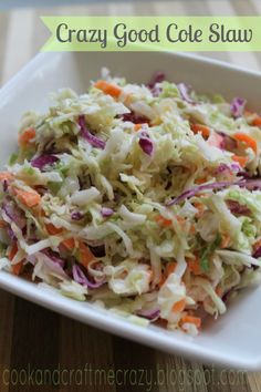 Cook and Craft Me Crazy: Crazy Good Cole Slaw. This cole slaw is easy and delicious and it uses Greek Yogurt instead of a mayo or sour cream! Side Dish Recipes, Veggie Recipes, Great Recipes, Cooking Recipes, Favorite Recipes, Healthy Recipes, Food Dishes, Side Dishes, Main Dishes