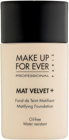Trending On ShopStyle - Make Up For Ever Mat Velvet + Mattifying Foundation. What it is: A shine controlling, oil-free, water-resistant, complete coverage liquid foundation. What it is formulated to: Hides imperfections, evens out skintone, and mattifies with a non-oily, perfectly powdered finish. The result is flawless and lasts for hours.
