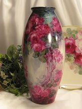 """Absolutely Exquisite Antique D Limoges France Hand Painted Vase 10 1/2"""" Tall Superb Mastery Artistry Roses Vintage Victorian China Painting of PINK and BURGUNDY ROSES Handpainted Floral Art Fine French Porcelain Masterpiece, circa 1900"""