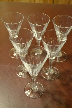 Vintage Fluted Stemware Set of Six Clear Glass by PanchosPorch, $24.00