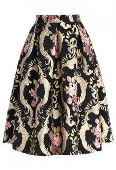 Rococo Roses Intarsia Midi Skirt - Skirt - Bottoms - Retro, Indie and Unique Fashion