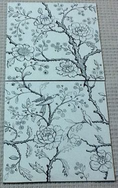 "Design by David B. Kelly. Two tile alternating design using 6"" by 6"" handmade ivory colored crackle glazed tiles. Standard printing color for the glaze decals is sepia, however, any color is possible as an upcharge. Also hand painted colors can also be applied requiring a second firing-I think this would be stunning."