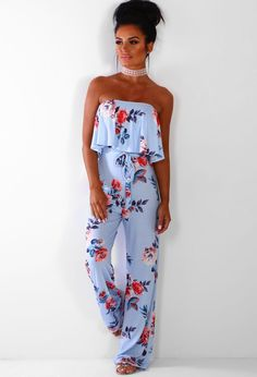 e844557b9026 Bloom Baby Blue Floral Strapless Wide Leg Jumpsuit | Pink Boutique Blue  Jumpsuits, Playsuits,