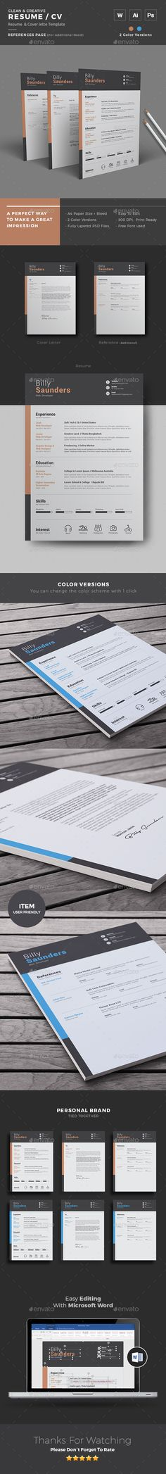Resume Template With MS Word Resume, Photoshop and Resume templates - ms word resume templates download