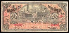 """MEXICO,TAMUALIPAS STATE, TAMPICO- """"El Banco De Tamualipas, S.A."""", 1 Peso banknote dated 15-2-1914, Series IB ID (!)., error?., M-519. A decent note, call the condition Fine to Very Fine. Not a common note. 