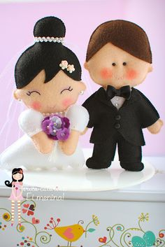BRIDE AND GROOM OF FELT FROM ERIC CATHERINE. TEMPLATE